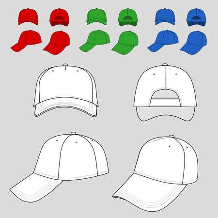 Honkbal, tennis cap gekleurde vector illustratie gekenmerkt voorkant, achterkant, zijkant, boven, onder geïsoleerd op wit. U kunt de kleur veranderen of u kunt uw embleem gemakkelijk toevoegen.