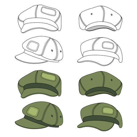 peak hat: Cap band vector illustration featured front, back, side, top isolated on white. You can change the color or you can add your logo easily.