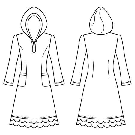 House dress, nightdress (front & back view), vector illustration isolated on white background