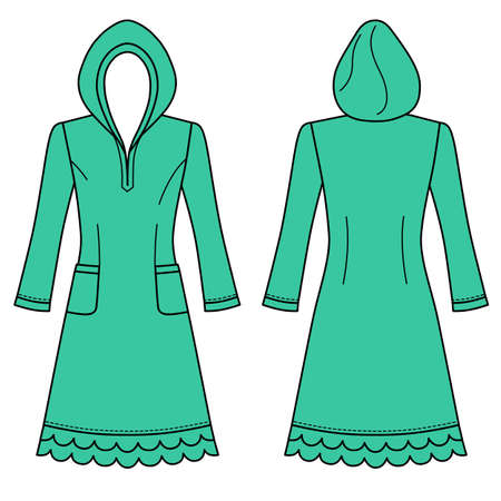 nightdress: House dress, nightdress (front & back view), vector illustration isolated on white background