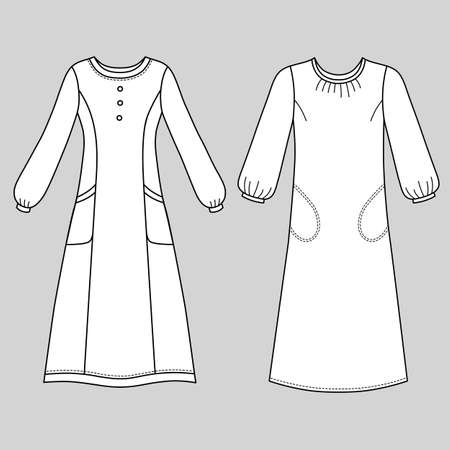 House dress, nightdress front view, vector illustration isolated on grey background