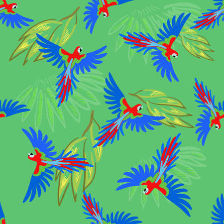 macaw parrot: Macaw parrot seamless pattern, vector illustration isolated on green background