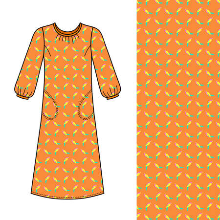 House dress, nightdress front view parrot seamless background patterned, vector illustration isolated on white background