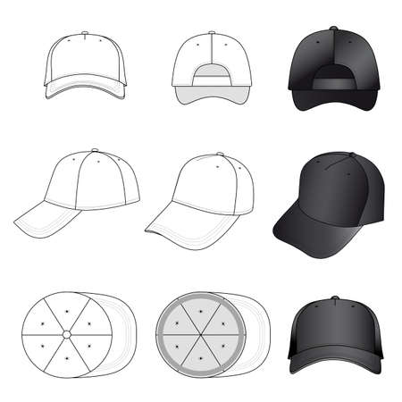 Baseball, tennis cap vector illustration featured front, back, side, top, bottom isolated on white. 