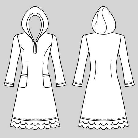 House dress, nightdress (front & back view), vector illustration isolated on grey background