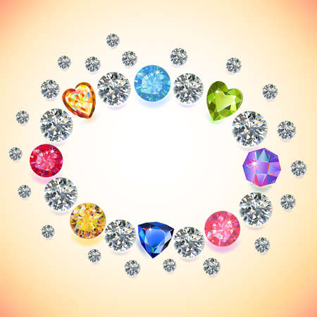 zircon: Colored gems oval frame isolated on light background, vector illustration