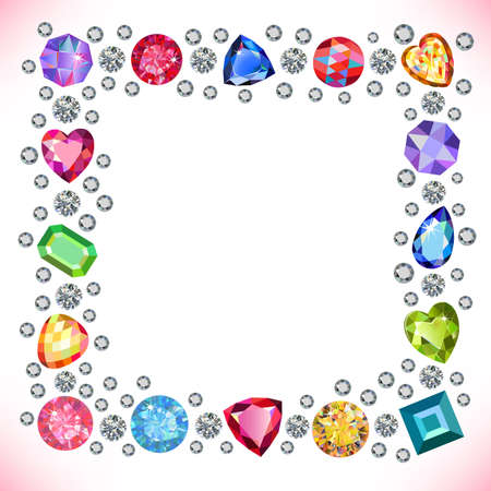 bright card: Colored gems square shape frame isolated on light background, vector illustration Illustration
