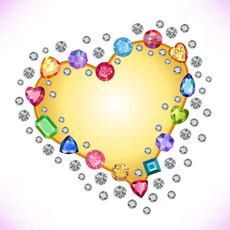 zircon: Colored gems heart shape frame isolated on light background, vector illustration