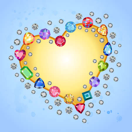 peridot: Colored gems heart shape frame isolated on light blue background, vector illustration