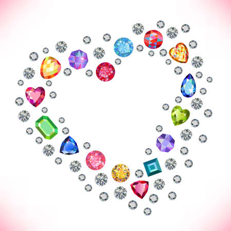 peridot: Colored gems heart shape frame isolated on light background, vector illustration