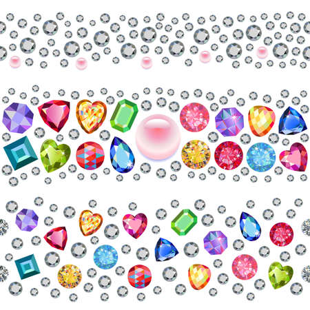 gems: Seamless scattered gems, rhinestones isolated on white background, vector illustration