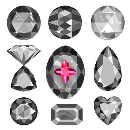spinel: Set of greyscale, black and red gems isolated on white background, vector illustration