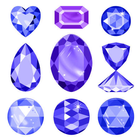 spinel: Set of blue, lilac gems isolated on white background, vector illustration