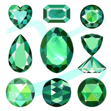malachite: Set of colored gems isolated on white background, vector illustration