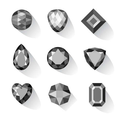 jewels: Set of greyscale, black gems isolated on white background, vector illustration