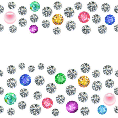 rhinestones: Seamless scattered borders of gems, rhinestones isolated on white background, vector illustration