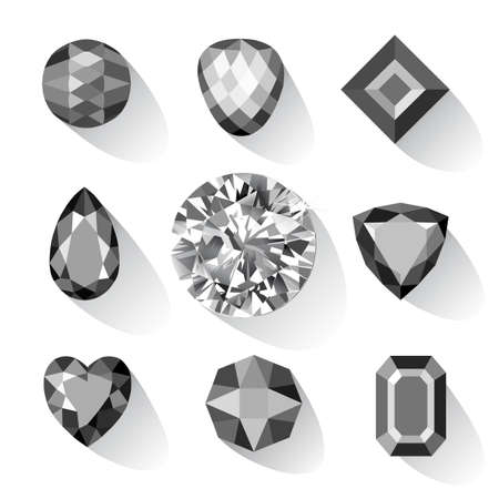spinel: Set of greyscale, black gems isolated on white background, vector illustration