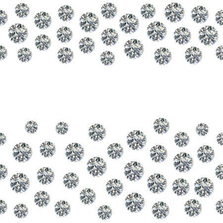 Seamless scattered gems, rhinestones isolated on white background, vector illustration