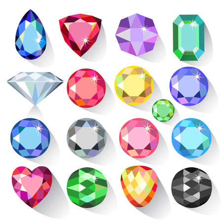 Flat style long shadow set of colored gems isolated on white background, vector illustration
