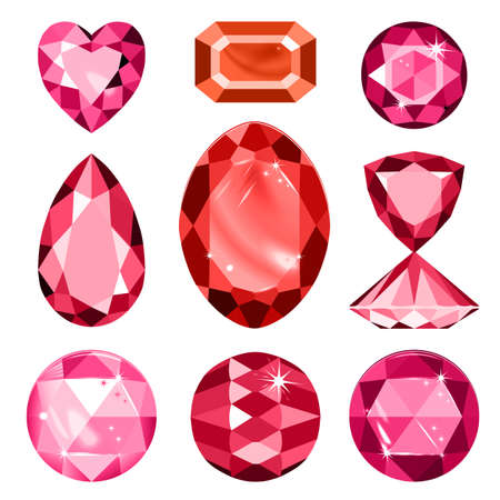 spinel: Set of colored gems isolated on white background, vector illustration