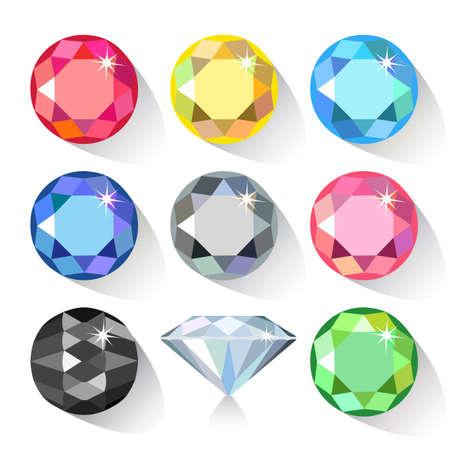 ruby stone: Long shadow flat style  set of colored gems isolated on white background, vector illustration Illustration