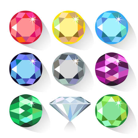 spinel: Long shadow flat style  set of colored gems isolated on white background, vector illustration Illustration