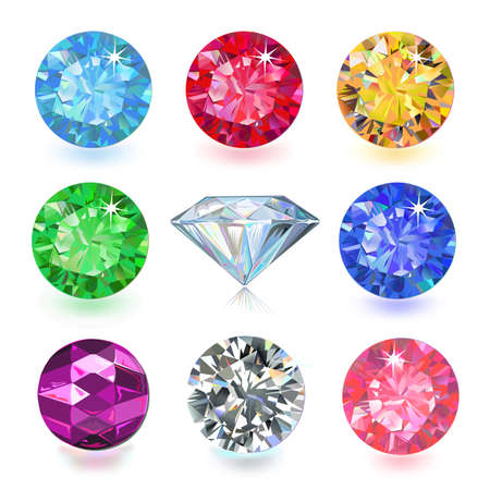 tanzanite: Set of colored gems isolated on white background, vector illustration