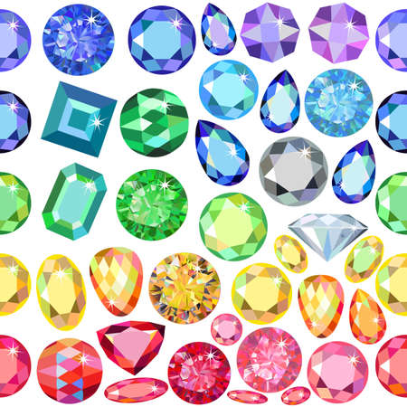zircon: Seamless scattered gems, rhinestones isolated on white background, vector illustration