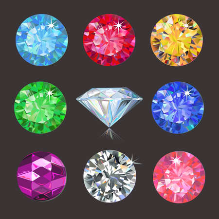 tanzanite: Set of colored gems isolated on dark background, vector illustration Illustration