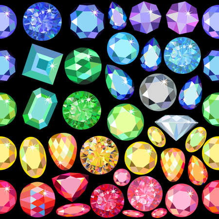 scattered: Seamless scattered gems, rhinestones isolated on black background, vector illustration