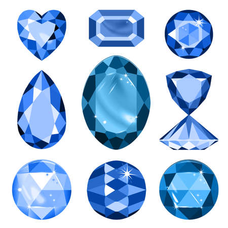 precious stone: Set of colored gems isolated on white background, vector illustration