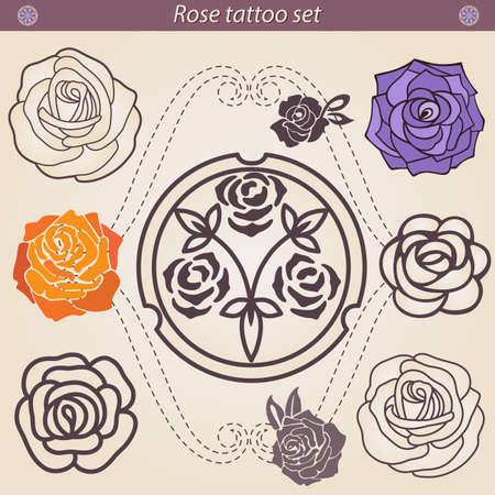 rosas naranjas: Rose tattoo floral silhouette set. An artistic vector illustration