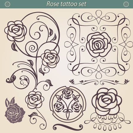 rose tattoo: Rose tattoo floral silhouette set. An artistic vector illustration