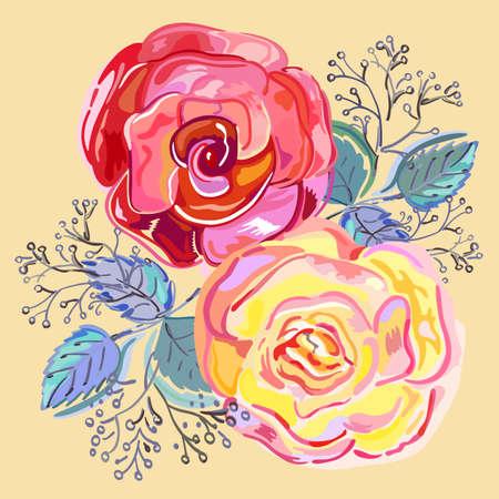 rosas rojas: rosas rojas rosa melocotón pequeño ramo aislado en el fondo beige, ilustración vectorial