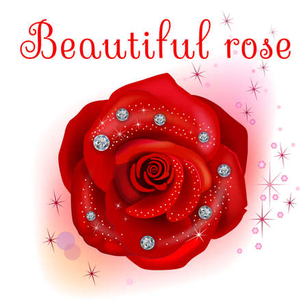 diamonds isolated: Red macro rose with diamonds isolated on white background, vector illustration