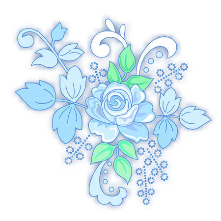 romance bed: Blue rose decorated small bouquet isolated on white background, vector illustration