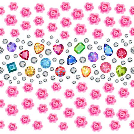 zircon: Seamless scattered gems, rhinestones, pearls & roses isolated on blue background, vector illustration Illustration