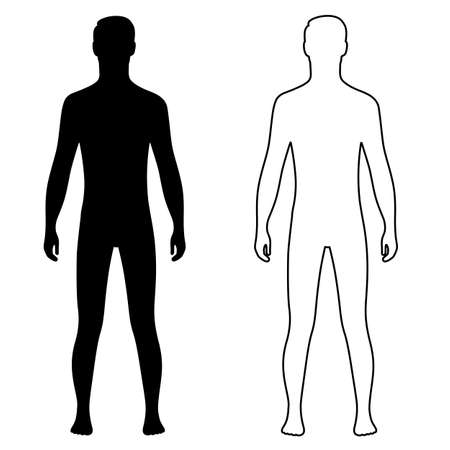 Fashion man full length outlined couple template figure silhouette (front view), vector illustration isolated on white background
