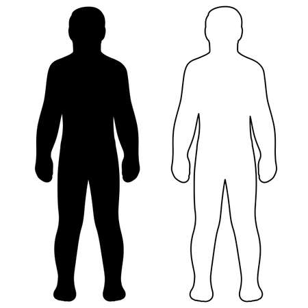 패션 남자 전체 길이는 몇 가지 템플릿 그림 실루엣 (전면보기), 벡터 일러스트 레이 션 흰색 배경에 고립 된 설명