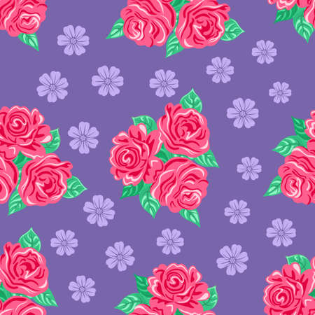 romance bed: Pink roses seamless background, vector illustration Illustration