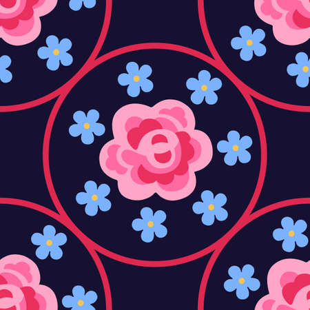 centric: Pink flat rose & forget-me-not centric flowers seamless background, vector illustration