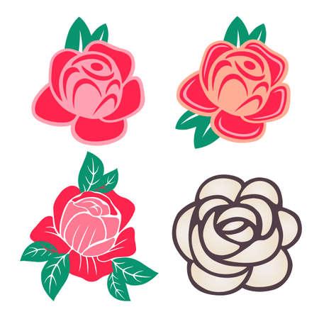 tatouage fleur: Roses avec des feuilles set isolé sur fond blanc, illustration vectorielle