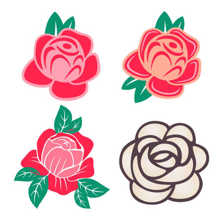 Roses with leaves set isolated on white background, vector illustration