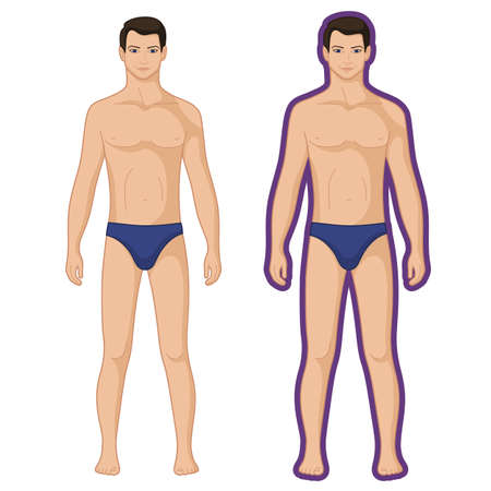 패션 남자 전체 길이 개요 서식 파일 그림 (전면보기), 벡터 일러스트 흰색 배경에 고립 된