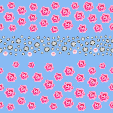 zircon: Seamless scattered gems, rhinestones, pearls & roses isolated on blue background, vector illustration Illustration