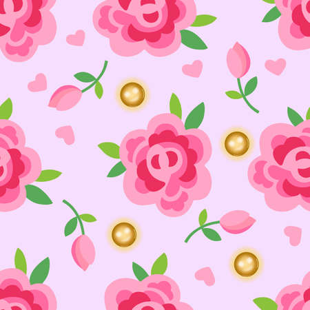 pearl: Pink roses & gold pearls seamless background, vector illustration