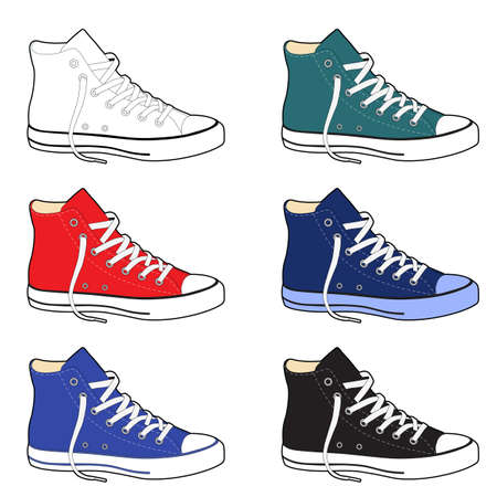 Unisex outlined template sneakers set side view, vector illustration isolated on white background