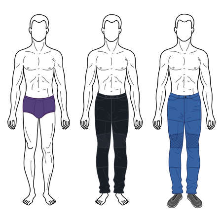 Fashion man outlined template full length front figure silhouette in jeans & brief underpants, vector illustration isolated on white background.