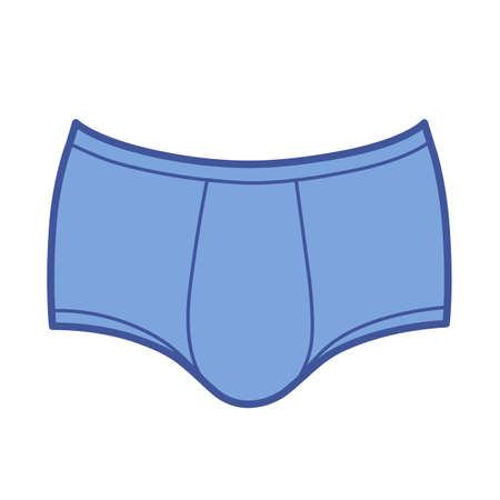 Man's outlined template brief underpants front view, vector illustration isolated on white background