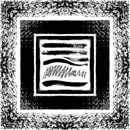 muddy: Grunge brush seamless frames & strokes pattern isolated on white background Illustration